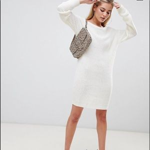 Missguided off the shoulder knitted sweater dress